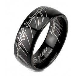 Fekete Volfrámacél Wolfram Gyűrűk Ura felirattal Karikagyűrű