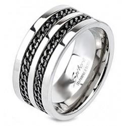 Titánium Gyűrű Lánc Díszítéssel