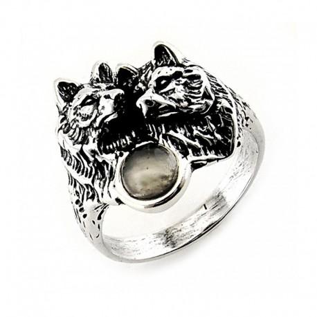 Ezüst Gyűrű Farkasokkal és Holdkővel